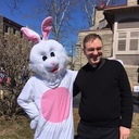 Easter Bunny and Fr. Bransfield